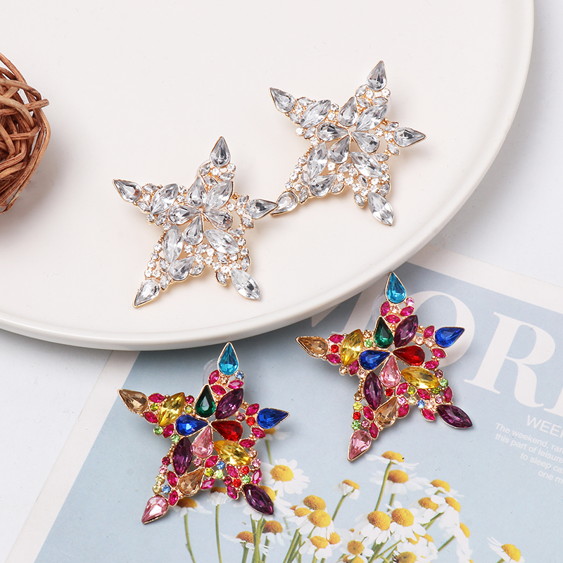 FASHIONSNOOPS Trendy Star Design Multicolour Crystal Gold Stud Earrings For Women Girl Accessories Statement Jewelry
