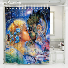 Galaxy Shower Curtain 3D Angel Kiss Watercolor Bath Curtain Waterproof Fabric Bathroom Curtains Ombre Starry Night tenda doccia цена в Москве и Питере