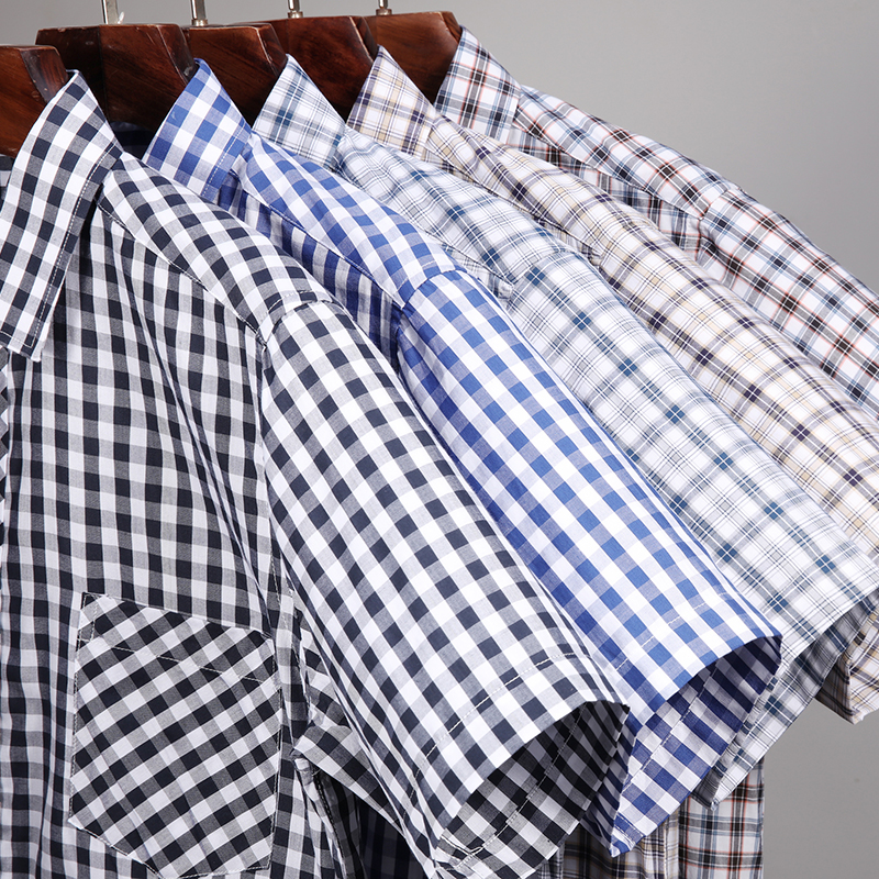 Summer Short Sleeve Plaid Shirts Fashion Men Business  Casual Shirts  Square Collar Cotton Loose Fit Shirts With Front  Pocket