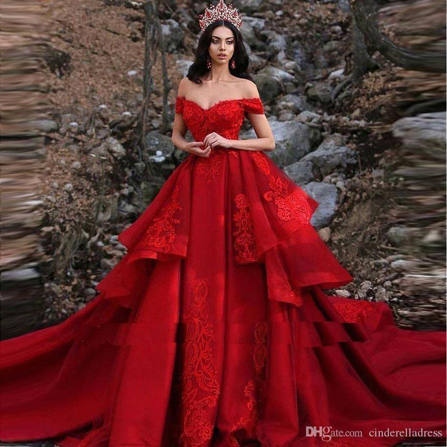 2020 Red Layers Tiered Lace Applique Wedding Dresses Off The Shoulder Arabic Sexy Bridal Wedding GownsVestidos De Novia