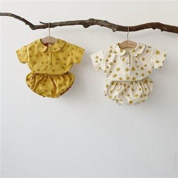 Conjunto de ropa de bebé MILANCEL, conjunto de ropa de bebé recién nacido con Margarita, camiseta de cuello redondo y bombacho, ropa para niños y niñas