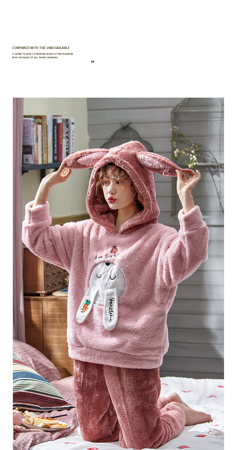 Plus Large Size M - 5XL Warm Pajamas Set Girl Women Cartoon Flannel Thickened Coral Velvet Long Sleeve Pink Rabbit Home Clothes 34
