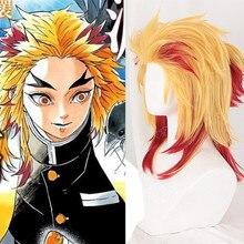Парик для косплея из японского аниме «Demon Slayer»: Kimetsu no Yaiba Rengoku Kyoujurou; парик для ролевых игр с желтыми волосами