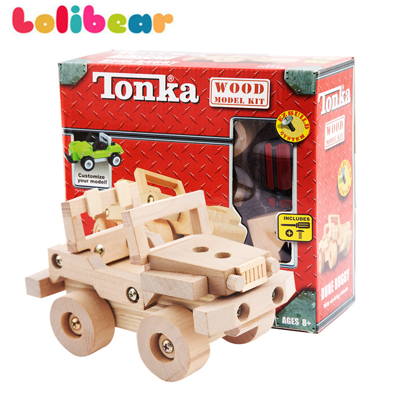 Wooden Assembled Screwing Blocks Motorcycle Car Truck Vehicles Model DIY Building Kits Children Educational Toys Creative Gifts