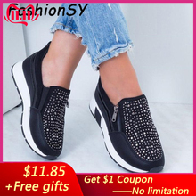Women Crystal Sneakers Spring Autumn Casual Zipper Flat