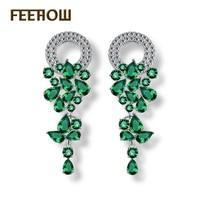 Женские длинные висячие серьги FEEHOW, белые серьги-капли с зеленым листом, свадебные серьги, FWEP154