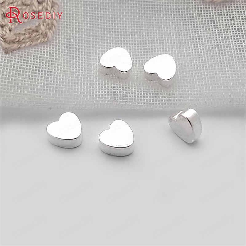 (F628) 20 piezas 5x5x2,5mm latón plateado Color plata sin agujero corazón cuentas Diy accesorios de joyería al por mayor