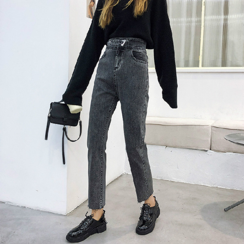 High Waisted Pants Denim Jeans Woman Blue Gray Black Straight Jeans For Women Vintage Casual Pantalon Jean Femmes 2020