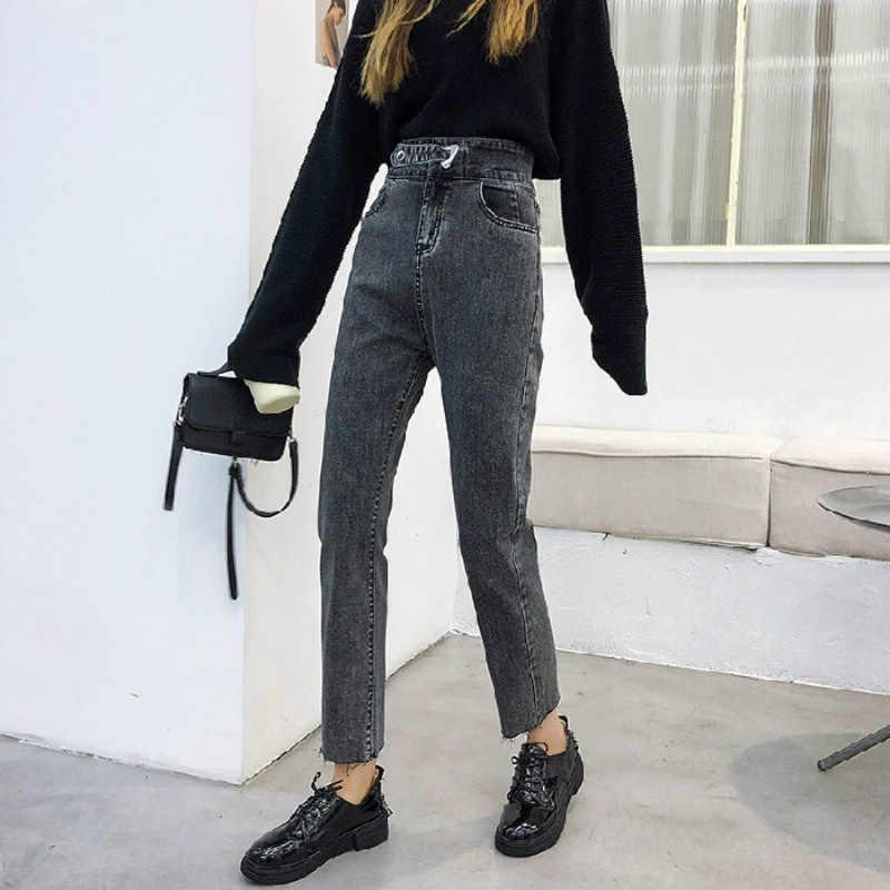 Pantalones De Talle Alto Para Mujer Vaqueros Rectos De Estilo Vintage Informales Color Azul Gris Y Negro 2020 Pantalones Vaqueros Aliexpress