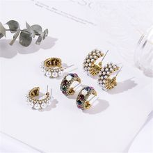 2019 New Hot Sale Vintage Colorful Rhinestone Small Hoop Earrings Women Fashion Simulated Pearl Semicircle Pendientes