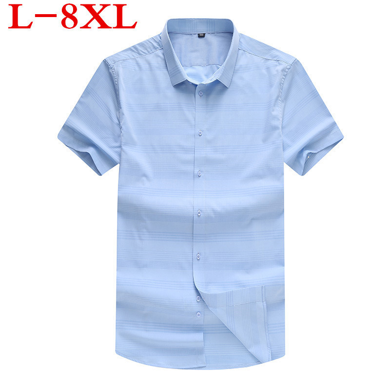 PLUS Size 8XL 7XL 6XL Strped  NEW Men's Plus Size Clothing Short-sleeve Shirt Casual Loose Fat Fashion Short-sleeve Shirt