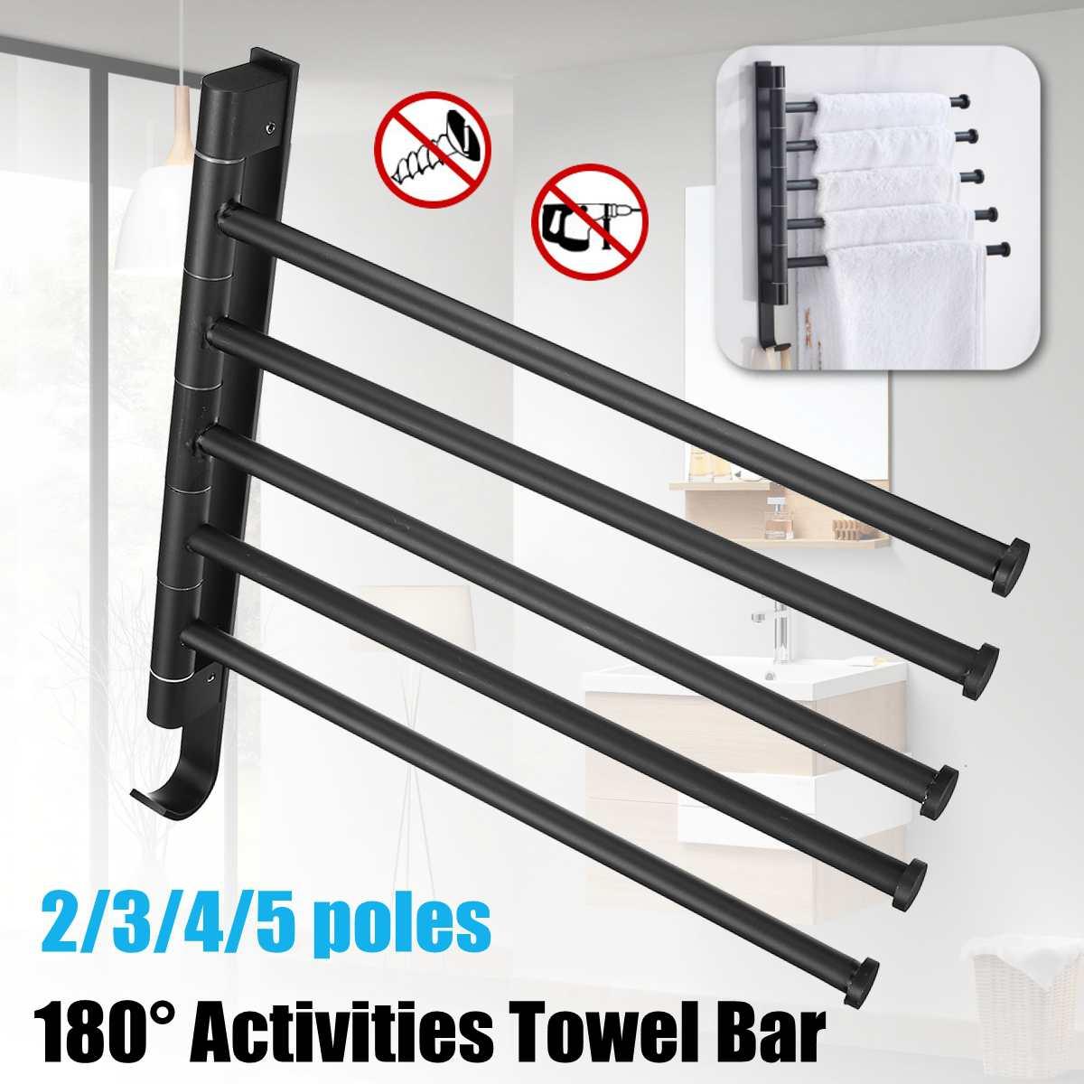 2/3/4/5  Black Stainless Steel Punch Free Towel Bar Rotating Towel Rack Bathroom Kitchen Wall-mounted Towel Polished Rack Holder