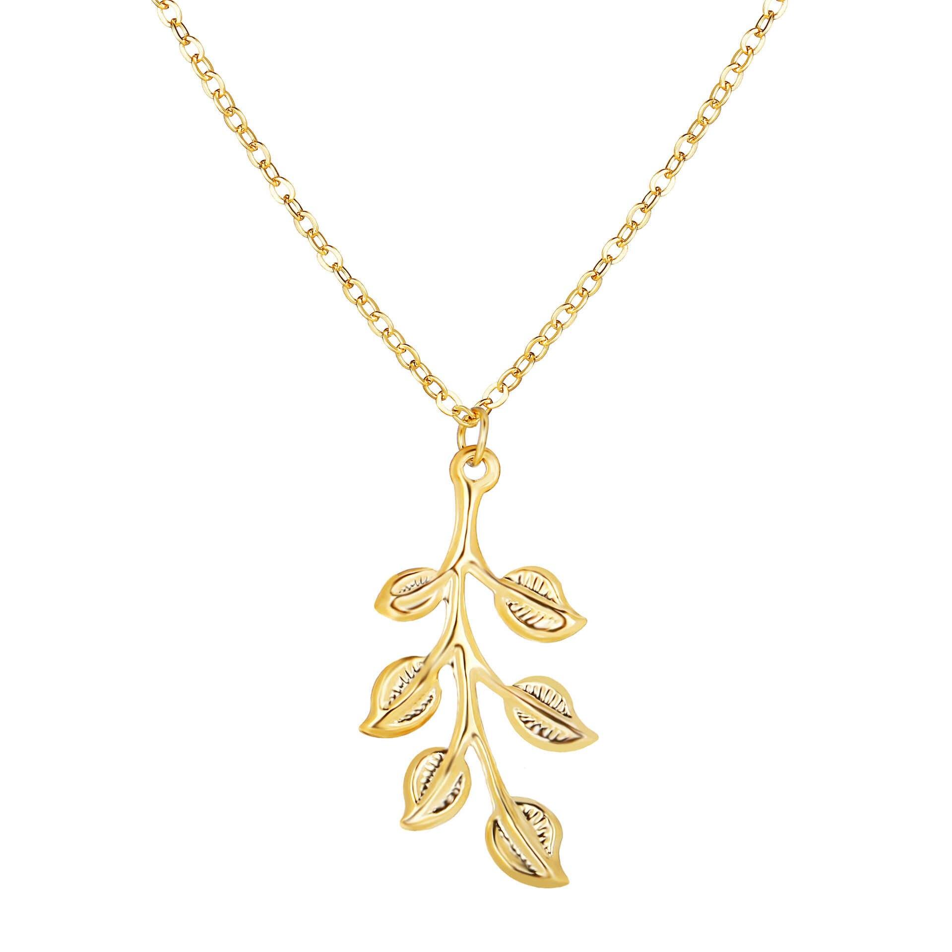 Gold Farbe Blatt Halskette Anlage Blätter Anhänger Erklärung Charm Lange Link Kette Für Frauen Männer Schmuck Zubehör