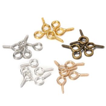200 sztuk metalowe małe oko hak śruby szpilki Tiny Eye Pins złoto srebro zapięcie haki złącze dla Handmade DIY biżuteria dokonywanie ustalenia tanie i dobre opinie CN (pochodzenie) Złącza 0inch Connectors Ze stopu cynku A400 Jewelry Findings 200Pieces 4x8mm 4 5x10mm 5x10mm 6 5x13mm