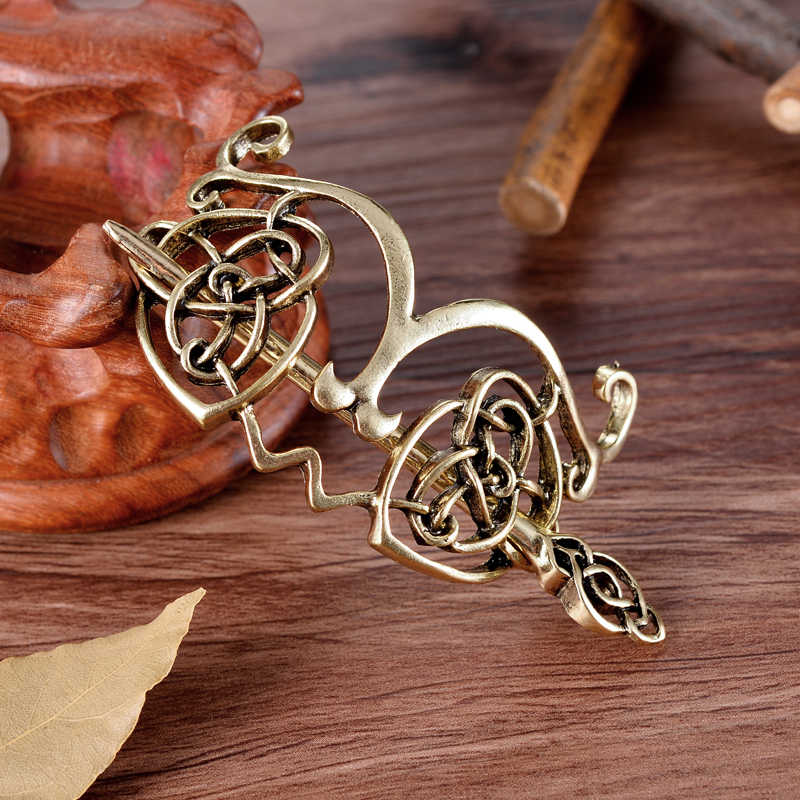 Viking Hair Hairpins Jewelry Celtics Knots Crown Vintage Style gold and Antique silver Hair Clips Hairpins Gift for girl women