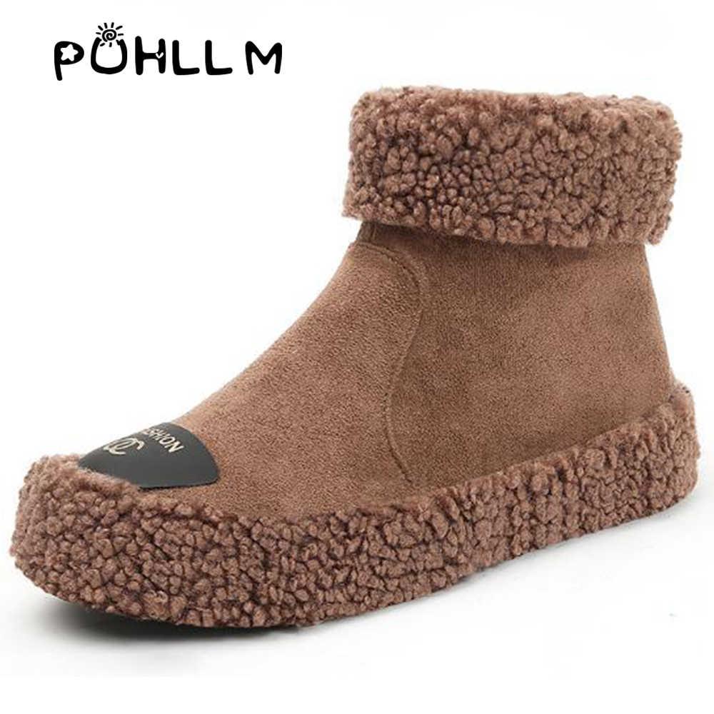 PUHLLM kadın ayakkabısı Kar botları kadın 2019 kış yeni Kore versiyonu vahşi çizmeler sıcak botlar düz kadın ayakkabısı F38