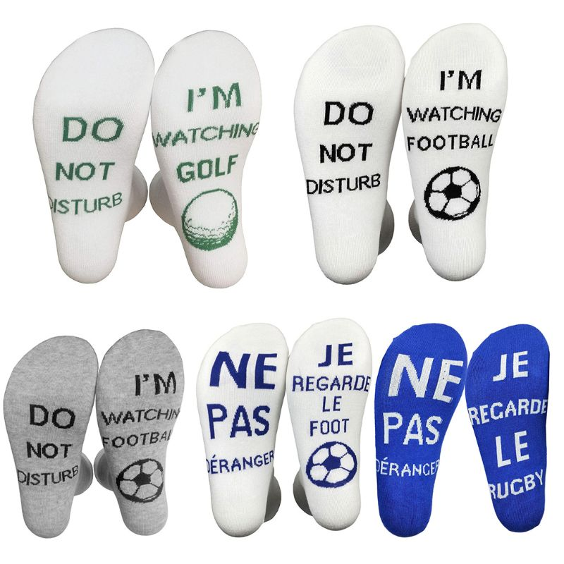 Unisex Funny Crew Socks Do Not Disturb I Am Watching Rugby Football Golf Hosiery