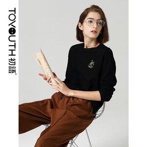 Image 2 - Toyouth casual Girocollo maglia A Manica Lunga T Shirt Allentato Pesce Stampato Autunno Nero Magliette e camicette