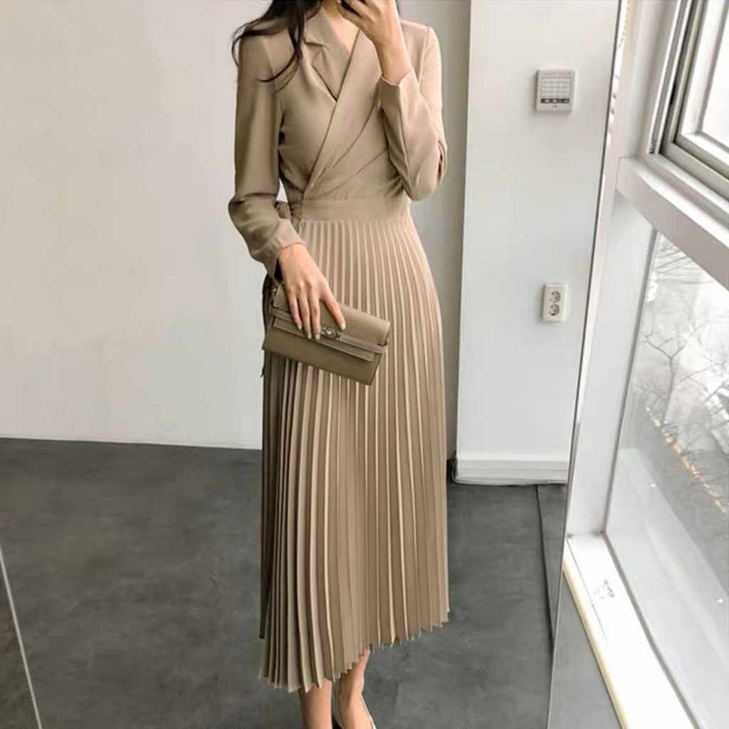 Women Casual Solid V-Neck Dress Belt Long Sleeve Dress Big Swing Pleated Dress dress autumn vestidos verano 2019 mujer