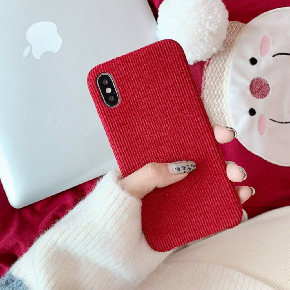Fashion Red Slim Phone Case For iPhone 11 Pro X XR XS Max Soft Corduro
