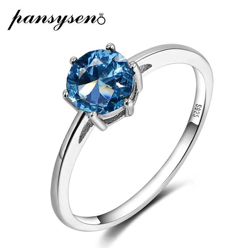 PANSYSEN Top Quality 100% 925 Sterling Silver Aquamarine Gemstone Rings For Women Fine Jewelry Party Ring Size 4-12 Wholesale
