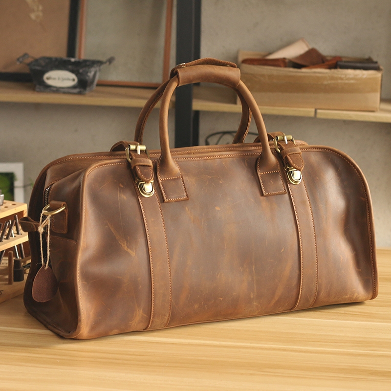 Luxury Pure Handmade Crazy Horse Leather Hasp Men's Travel Bags Vintage Perfect Quality Genuine Leather Big Volume Travel Totes