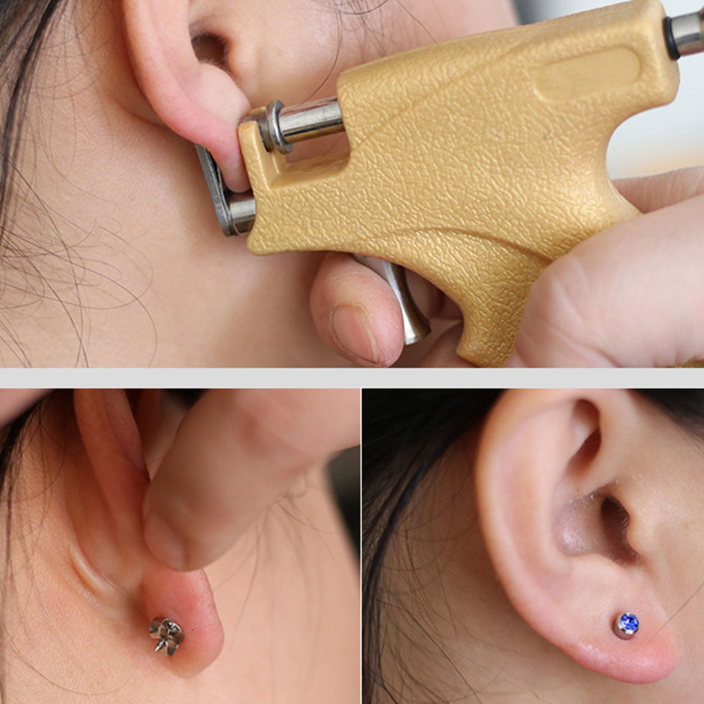 Professional Universal Ear Piercing Instrumen Silver Gold Birthstone Gem Ear Lip Helix Stud Earring Jewelry