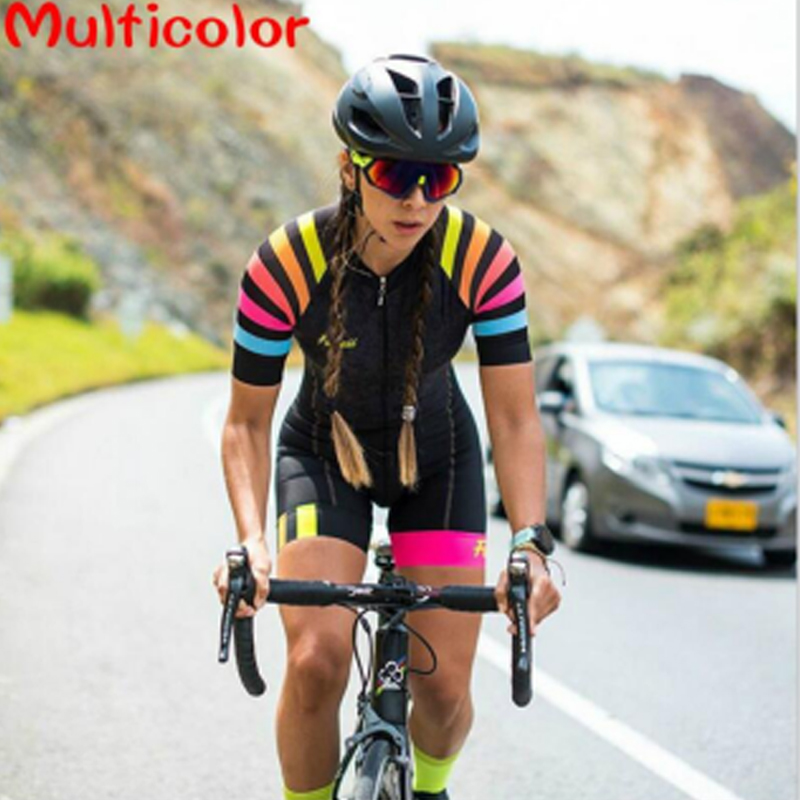 2020 Women Triathlon Short Sleeve Cycling Jersey Sets Skinsuit Maillot Ropa Ciclismo Bike Jersey Bicycle Clothing Go  Jumpsuit
