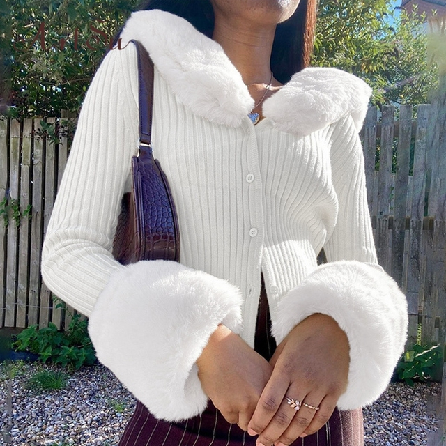 Artsu Ribbed Knitted Cardigans Sweaters With Fur Trim Collar Long Sleeve Slim Autumn Winter Jumpers Women Knitwear 42015 4