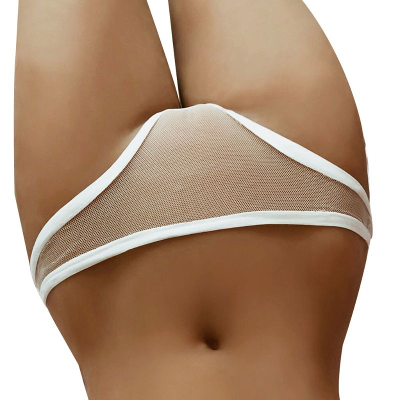 Women Sexy Low Rise Underwear Briefs Erotic Hollow Out See Through Mesh Lingerie G-String Solid White Color Bikini Thong Panties