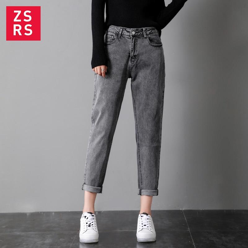 Zsrs Cotton Black Ash Jeans Woman High Waist Skinny Jeans Woman Plus Size Mom Jeans Black 2019 Autumn New Denim Jeans Womens