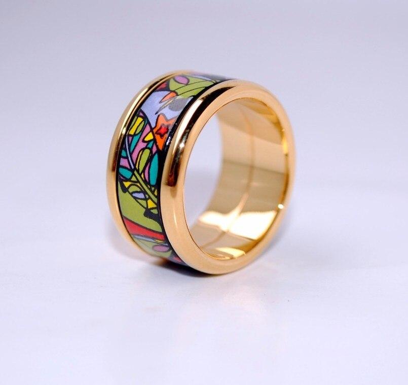 Anneaux en or plaqués de bijoux de mode circulaires en émail cloisonné - 2