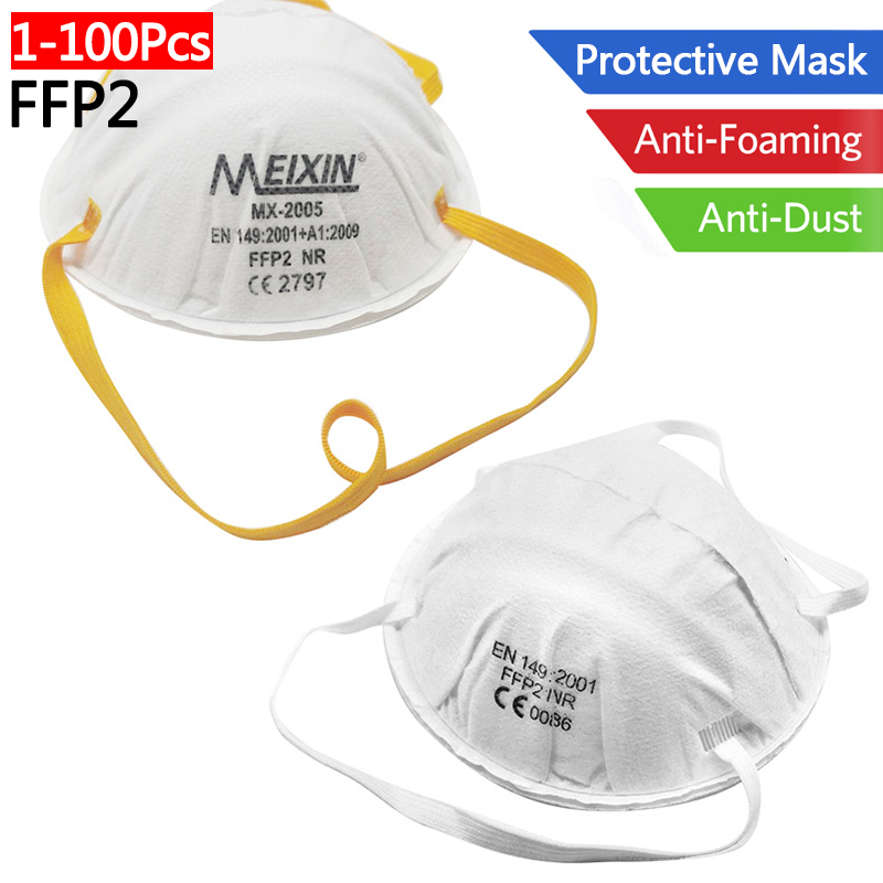 1-100Pcs FFP2 Mask Respirator Non Woven Anti Dust Haze PM2.5 Dustproof Protective Face Mask Mouth Cover Features As N95 KN95