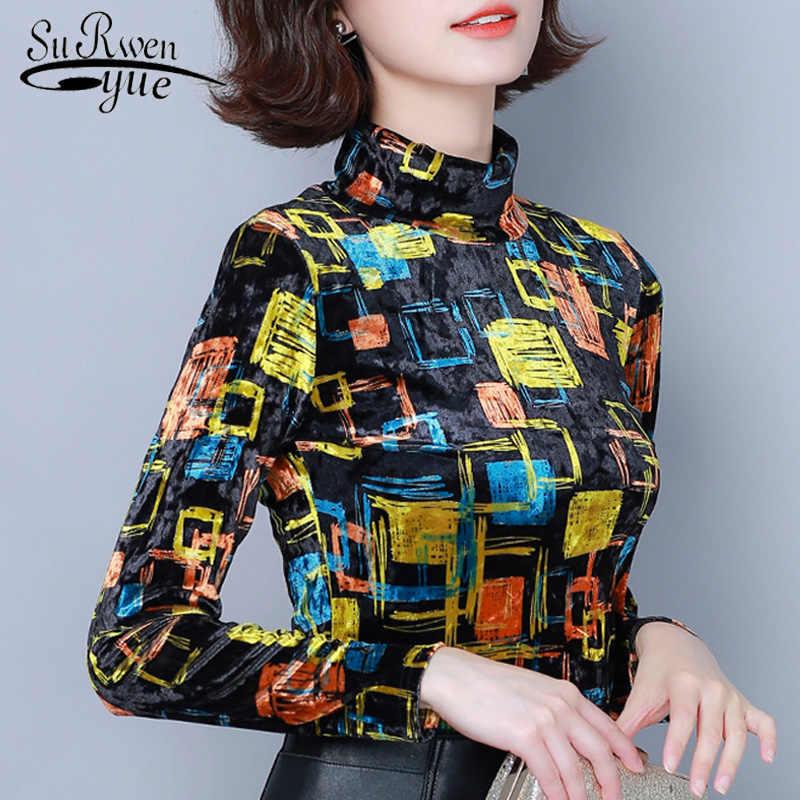 Herfst Winter Fashion Lange Mouwen Coltrui Vrouwen Blouses Nieuwe Afdrukken Trui Slanke Vrouwen Shirts Plus Size Dames Tops 6513 50