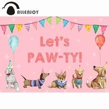 Allenjoy 생일 배경 어린이 개 풍선 아기 샤워 파티 다채로운 플래그 배너 Photophone 사진 배경