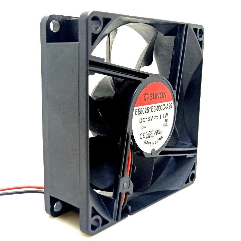 2pcs New Sunon EE80251B3-000C-A99 8cm 8025 12V 1.1W Dual Ball Bearing Silent Quiet Fan 80mm Mute Air Volume Computer Cooling Fan