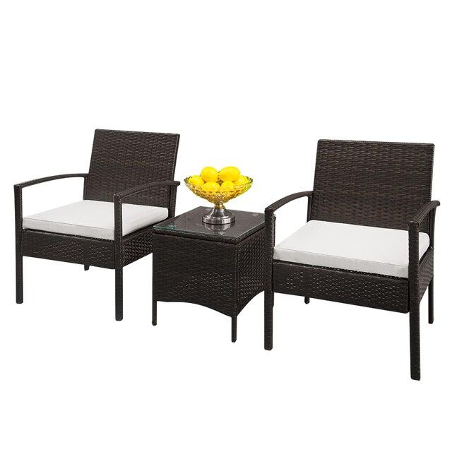 2pcs Arm Chairs 1pc Coffee Table Rattan Sofa Set Brown Gradient 5