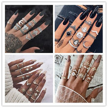 6C Design Boho Vintage Gold Star Midi Moon Rings Set For Women Opal Crystal Midi Finger Ring 2019 Female Bohemian Jewelry Gifts(China)