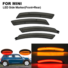 цена на Smoke LED Car Side Marker Lamp Light For MINI R56 R55 R57 R58 R59 R60 R61 2X Front Side Marker(Amber) 2X Rear Side Marker (Red)