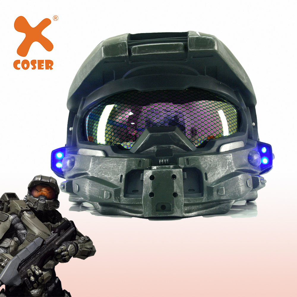 XCOSER Halo 4 Master Chief Helmet Cosplay Props Cool Game Cosplay Novelty & Special Helmet With Led Light Men`s Costumes Prop