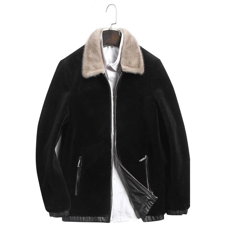 Real Sheepskin Leather Jacket Men Short Black Wool Coat New Casual Natural MInk Fur Collar Outwear Plus Size SD17W012 LX2351