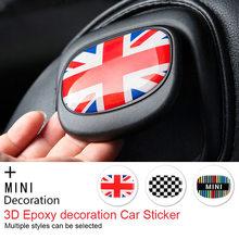 Union jack auto assento de volta alça 3d adesivo epóxi decorativo decalque adesivo película protetora para mini cooper f56 r56 acessórios
