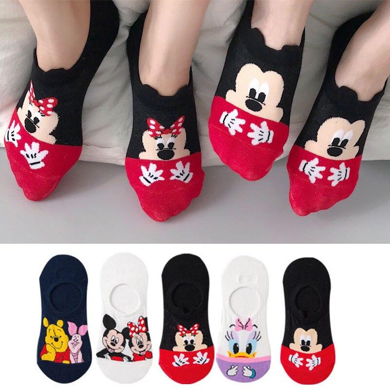 5 par/lote de verano Casual lindo mujeres medias de caricaturas de animales ratón pato calcetines algodón invisible calcetines divertidos tamaño 35-41Dropshipping
