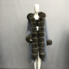 LISIDUN 2019 Real Fur Parka Women Winter Jacket Nature Sliver Fox Fur Hooded Coats Real Rabbit Fur Lining Jacket Female Fur Coat fur jacket rosenberg page href