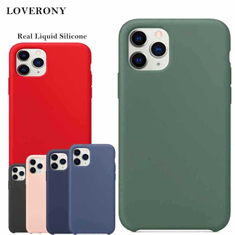 Loverony caso de silicone líquido real para apple iphone se 11 pro max capa protetora de luxo caso logotipo para iphone xs xr 7 8 plus
