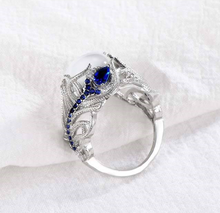 Moonstone Treasure Blue Sapphire Ring Unique 925Sterling Silver Floral Ring Cocktail Party Wedding Band Rings Diamond Jewelry(China)