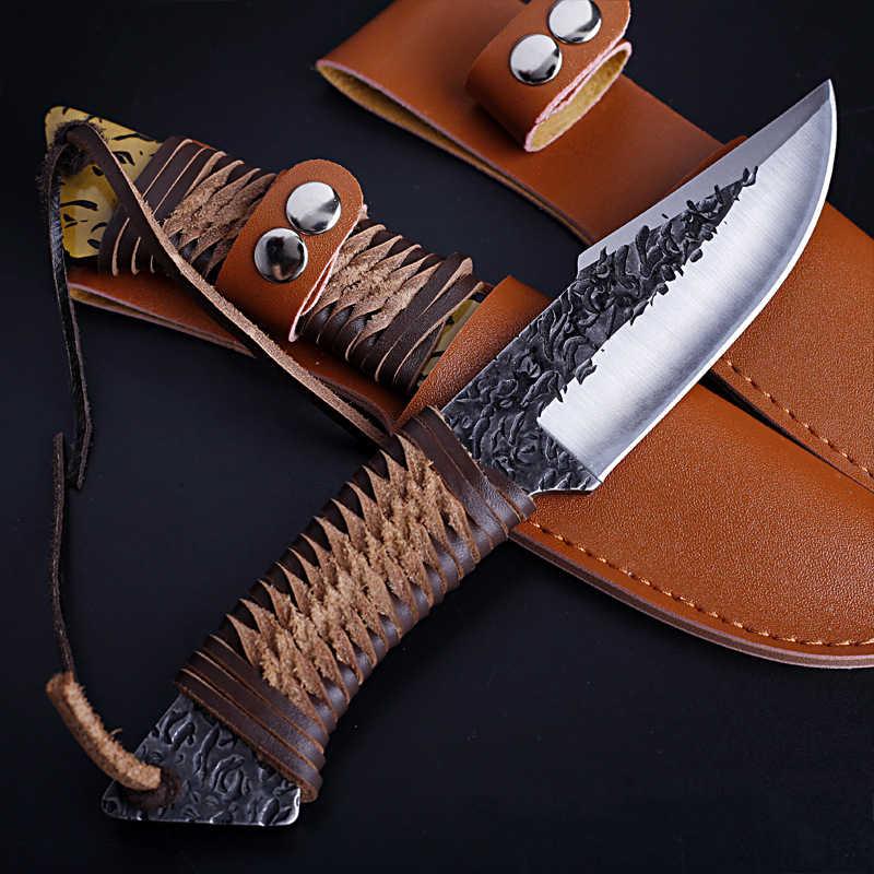 Yüksek karbon çelik dövme bıçak taktik avcılık düz açık kamp bıçak bıçaklar survival + deri kılıf askeri bıçaklar