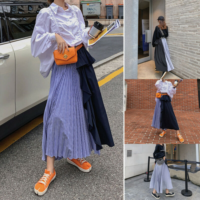 Fashion New Autumn Women Girls Two-Color Pleated Long Skirt Ladies Female High Waist Elastic Flared Skirts