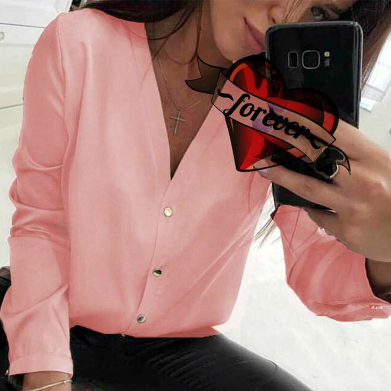 Casual v Neck Women Tops And Blouse Ladies Long Sleeve Button Office Shirts 2019 Female Solid Autumn Blusas Mujer De Moda 5