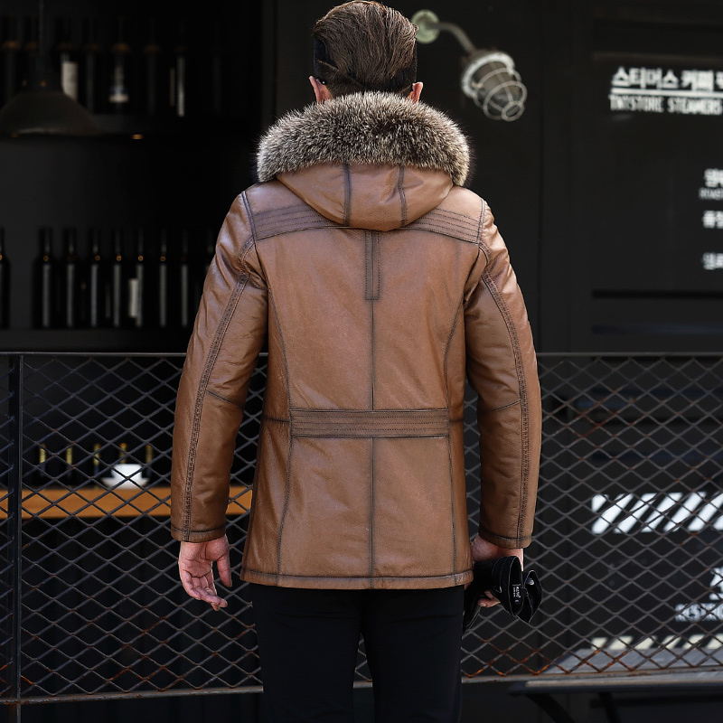 Genuine Leather Jacket Men Cowhide Real Wool Fur Coat Men Shearling Cow Leather Jacket Man Racoon Fur Collar 1971 KJ1166